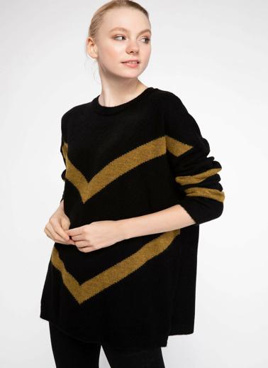 DeFacto Şerit Bloklu Triko Tunik Siyah